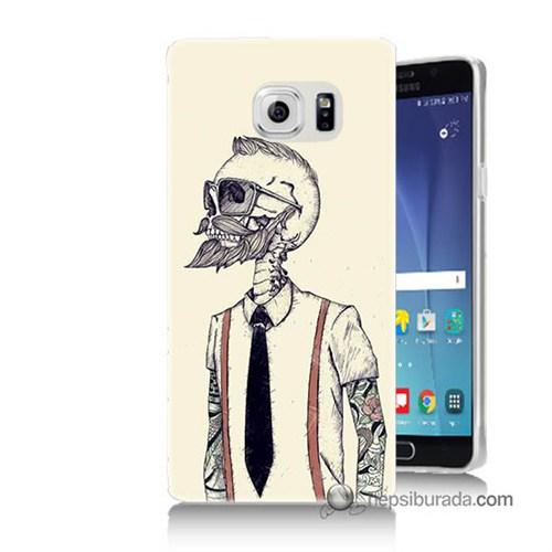Teknomeg Samsung Galaxy Note 5 Kapak Kılıf Dövmeli İskelet Baskılı Silikon
