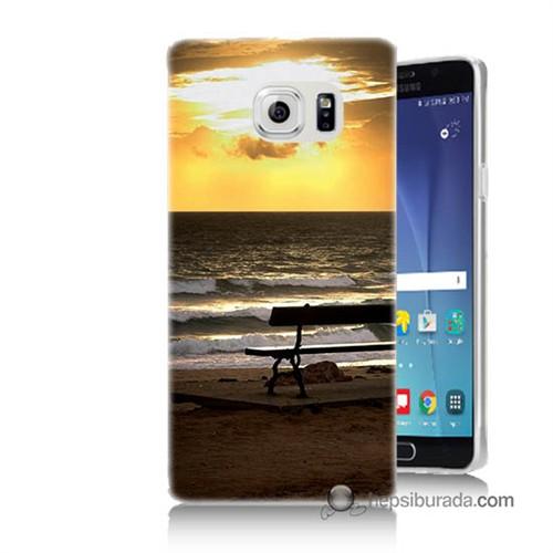 Teknomeg Samsung Galaxy Note 5 Kılıf Kapak Gün Batımı Baskılı Silikon