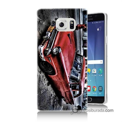Teknomeg Samsung Galaxy Note 5 Kılıf Kapak Klasik Araba Baskılı Silikon
