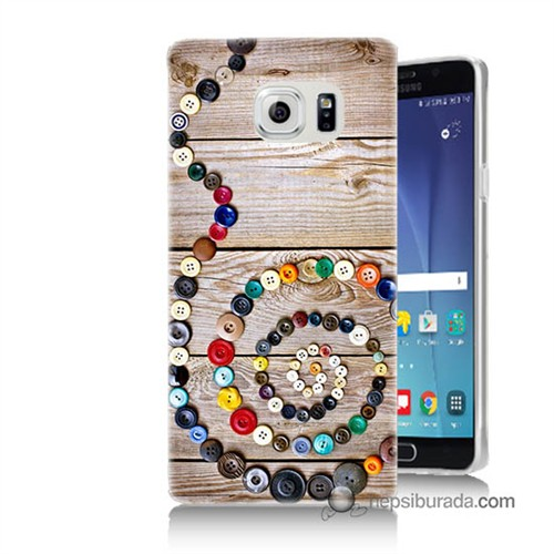 Teknomeg Samsung Galaxy Note 5 Kapak Kılıf Düğmeler Baskılı Silikon