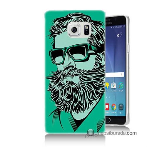 Teknomeg Samsung Galaxy Note 5 Kılıf Kapak Beard Art Baskılı Silikon