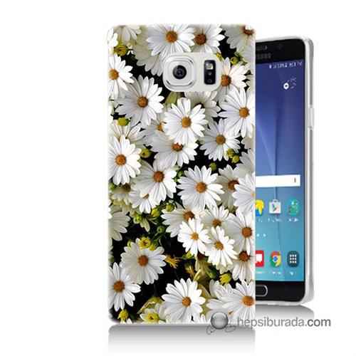 Teknomeg Samsung Galaxy Note 5 Kılıf Kapak Papatyalar Baskılı Silikon