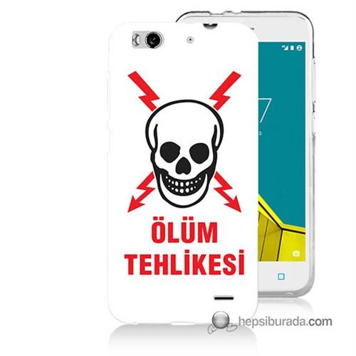 Teknomeg Vodafone Smart 6 Kapak Kılıf Ölüm Tehlikesi Baskılı Silikon