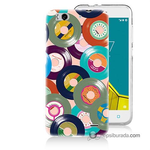 Teknomeg Vodafone Smart 6 Kapak Kılıf Renkli Plaklar Baskılı Silikon