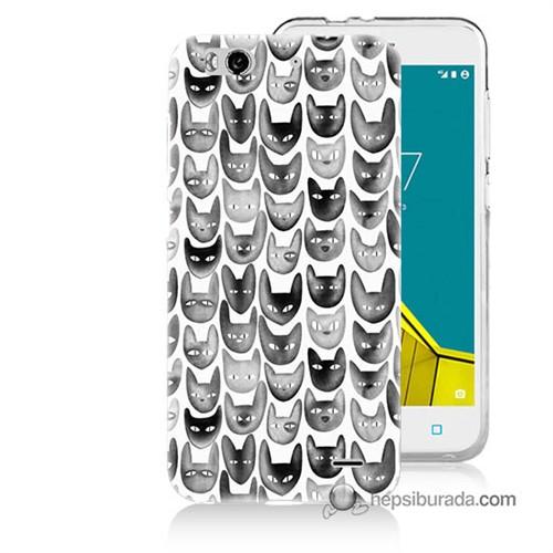 Teknomeg Vodafone Smart 6 Kapak Kılıf Kediler Baskılı Silikon