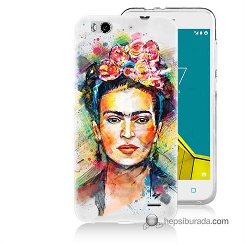 Teknomeg Vodafone Smart 6 Kapak Kılıf Frida Baskılı Silikon