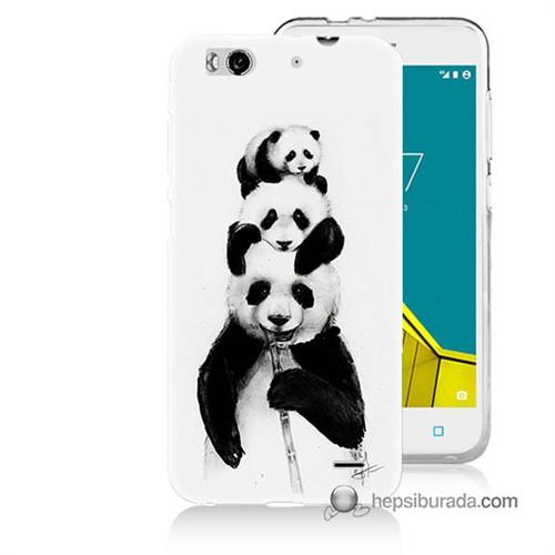 Teknomeg Vodafone Smart 6 Kapak Kılıf Panda Ailesi Baskılı Silikon