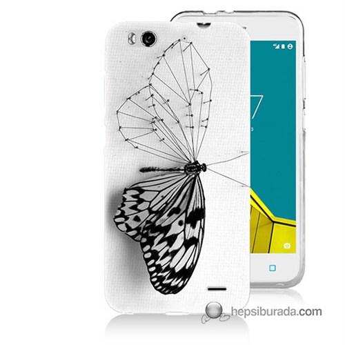 Teknomeg Vodafone Smart 6 Kapak Kılıf Kanatsız Kelebek Baskılı Silikon