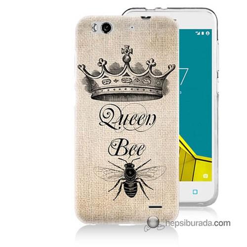 Teknomeg Vodafone Smart 6 Kılıf Kapak Queen Bee Baskılı Silikon