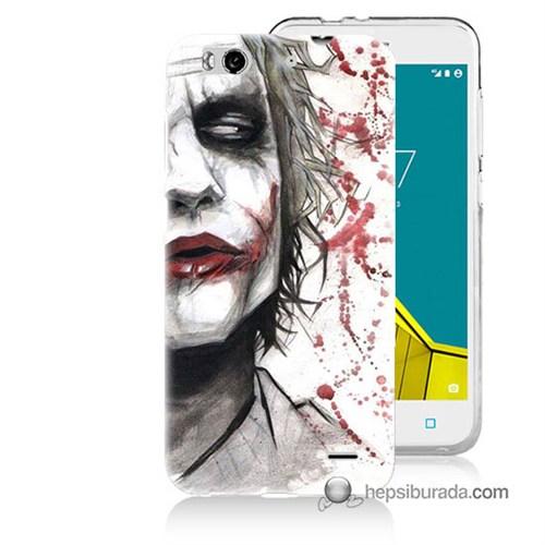 Teknomeg Vodafone Smart 6 Kapak Kılıf Kanlı Joker Baskılı Silikon