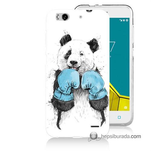 Teknomeg Vodafone Smart 6 Kılıf Kapak Boksör Panda Baskılı Silikon