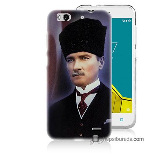 Teknomeg Vodafone Smart 6 Kılıf Kapak Mustafa Kemal Atatürk Baskılı Silikon