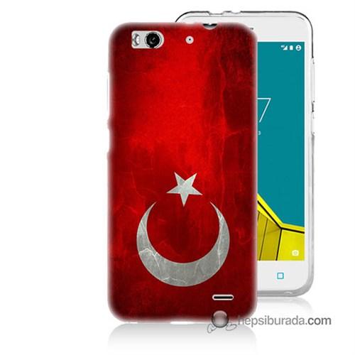 Teknomeg Vodafone Smart 6 Kılıf Kapak Türkiye Bayrağı Baskılı Silikon