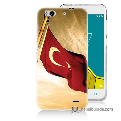Teknomeg Vodafone Smart 6 Kılıf Kapak Türk Bayrağı Baskılı Silikon