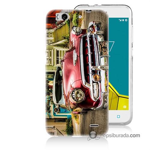 Teknomeg Vodafone Smart 6 Kapak Kılıf Klasik Araba Baskılı Silikon