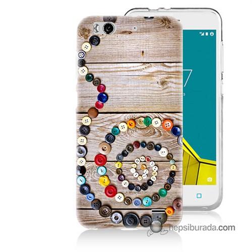 Teknomeg Vodafone Smart 6 Kapak Kılıf Düğmeler Baskılı Silikon
