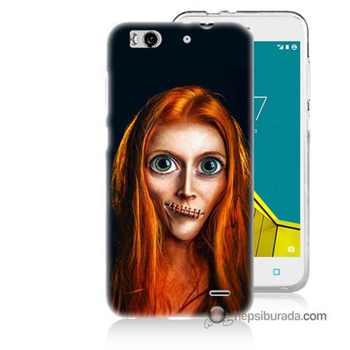 Teknomeg Vodafone Smart 6 Kılıf Kapak Zombie Kız Baskılı Silikon