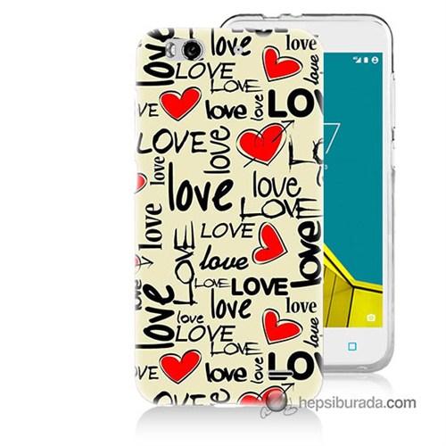 Teknomeg Vodafone Smart 6 Kapak Kılıf Love Baskılı Silikon