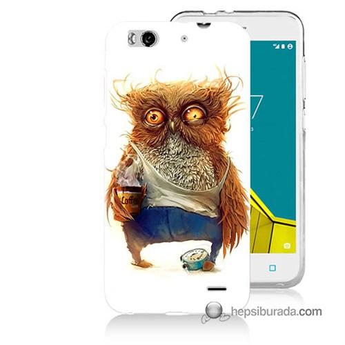 Teknomeg Vodafone Smart 6 Kapak Kılıf Miskin Baykuş Baskılı Silikon