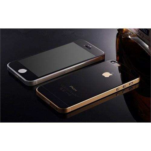 Teleplus İphone 5 Renkli Kırılmaz Cam Ön + Arka Ekran Koruyucu Siyah