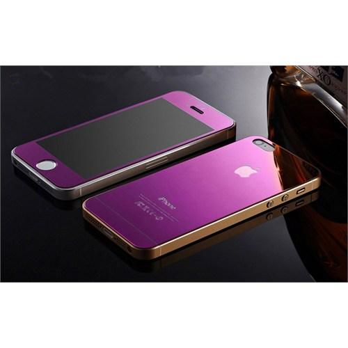 Teleplus İphone 5S Renkli Kırılmaz Cam Ön + Arka Ekran Koruyucu Mor