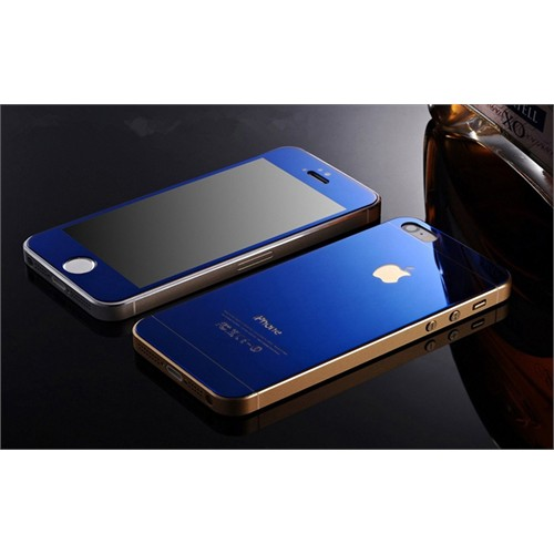 Teleplus İphone 5S Renkli Kırılmaz Cam Ön + Arka Ekran Koruyucu Mavi