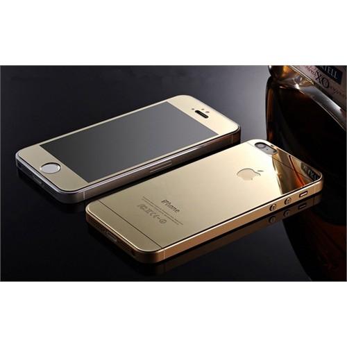Teleplus İphone 5S Renkli Kırılmaz Cam Ön + Arka Ekran Koruyucu Gold