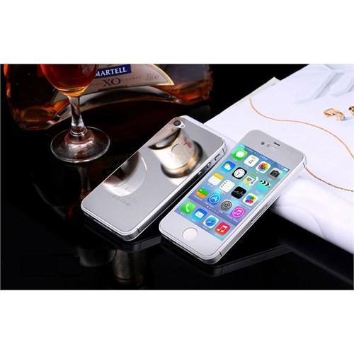 Teleplus İphone 4 Renkli Kırılmaz Cam Ön + Arka Ekran Koruyucu Gümüş