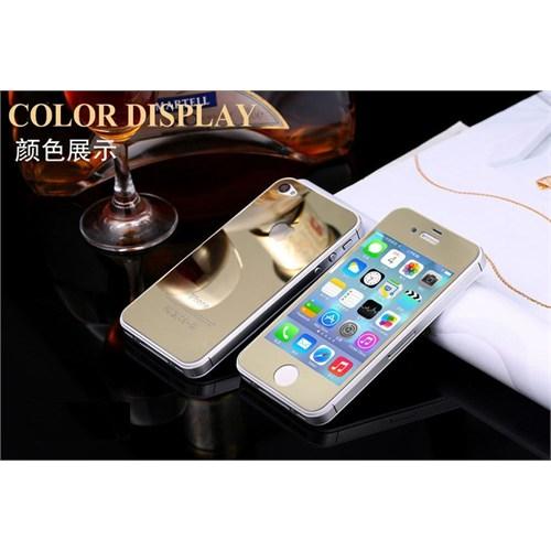 Teleplus İphone 4 Renkli Kırılmaz Cam Ön + Arka Ekran Koruyucu Gold