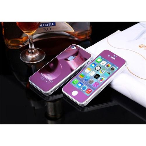Teleplus İphone 4S Renkli Kırılmaz Cam Ön + Arka Ekran Koruyucu Mor