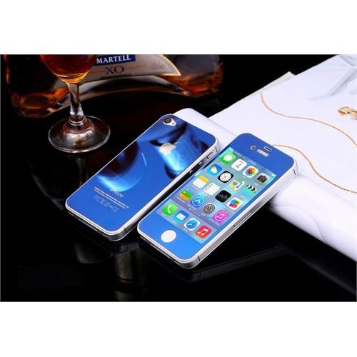 Teleplus İphone 4S Renkli Kırılmaz Cam Ön + Arka Ekran Koruyucu Mavi