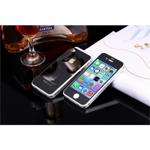 Teleplus İphone 4S Renkli Kırılmaz Cam Ön + Arka Ekran Koruyucu Siyah