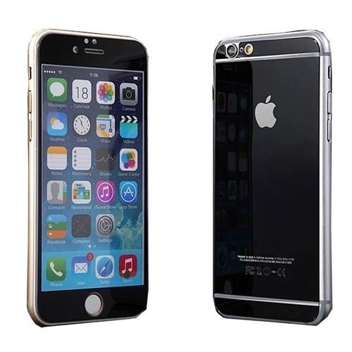 Teleplus İphone 6 Plus Renkli Kırılmaz Cam Ön + Arka Ekran Koruyucu Siyah
