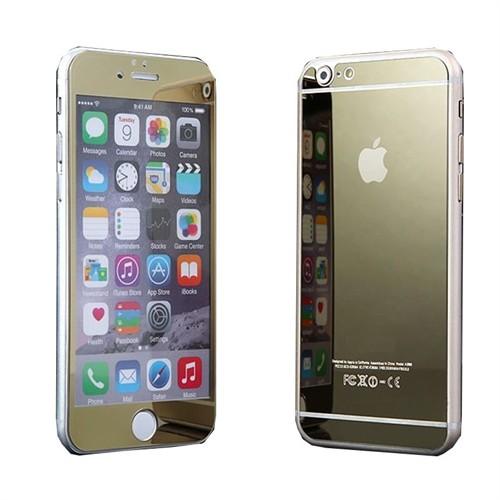Teleplus İphone 6S Renkli Kırılmaz Cam Ön + Arka Ekran Koruyucu Gold