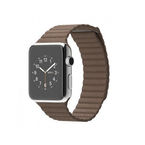 Apple Watch 42 Mm Paslanmaz Çelik Kasa Açık Kahverengi Deri Loop Mj422tu/A (Large) Akıllı Saat