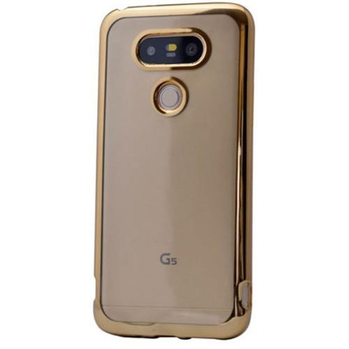 Teleplus Lg G5 Lazer Kesimli Tam Korumalı Silikon Kılıf Gold
