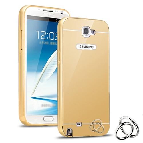 Teleplus Samsung Galaxy Note 2 Aynalı Metal Kapak Kılıf Gold