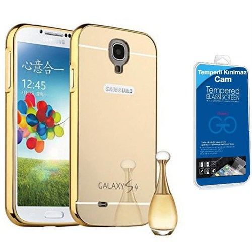 Teleplus Samsung Galaxy S4 Aynalı Metal Kapak Kılıf Gold + Kırılmaz Cam