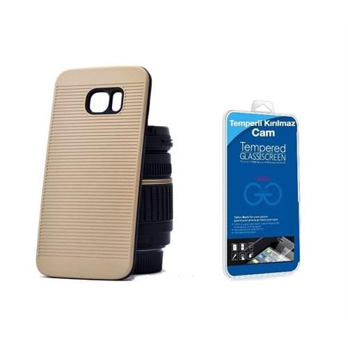 Teleplus Galaxy S7 Çift Katmanlı Kapak Kılıf Gold + Kırılmaz Cam