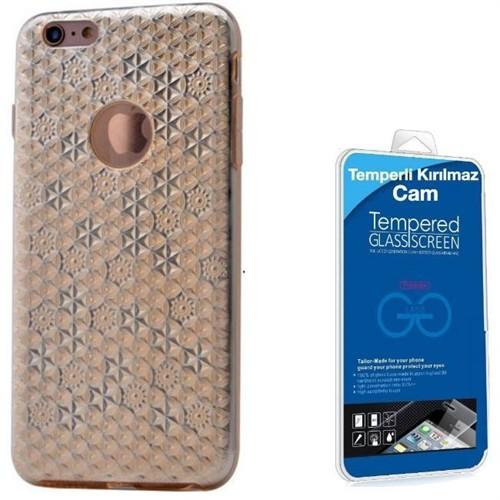 Teleplus İphone 6S Desenli Silikon Kılıf Gold + Kırılmaz Cam