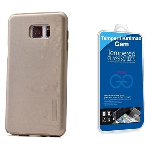 Teleplus Galaxy Note 5 Çift Katmanlı Kapak Kılıf Gold + Kırılmaz Cam