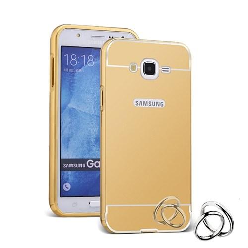 Teleplus Samsung Galaxy E7 Aynalı Metal Kapak Kılıf Gold