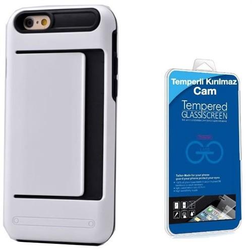 Teleplus İphone 6S Cüzdanlı Çift Katmanlı Kılıf Kapak Beyaz + Kırılmaz Cam