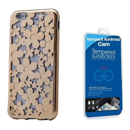 Teleplus İphone 6 Yeni Desenli Silikon Kılıf Gold + Kırılmaz Cam