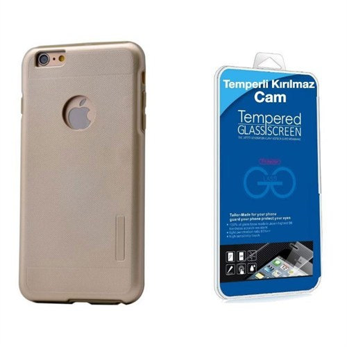 Teleplus İphone 6S Çift Katmanlı Kapak Kılıf Gold + Kırılmaz Cam