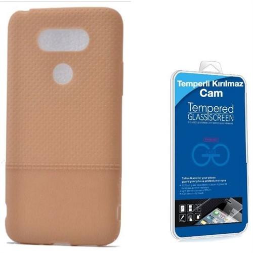 Teleplus Lg G5 Benekli Silikon Kılıf Gold + Kırılmaz Cam