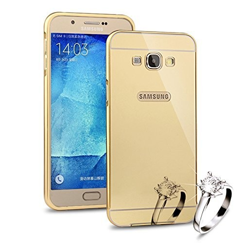 Teleplus Samsung Galaxy A8 Aynalı Metal Kapak Kılıf Gold