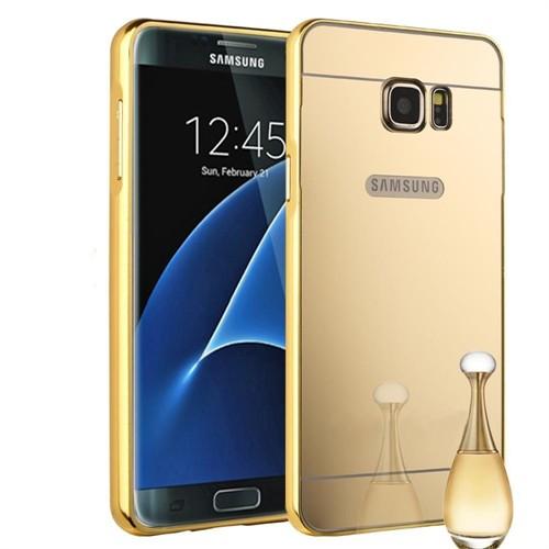 Teleplus Samsung Galaxy S7 Aynalı Metal Kapak Gold + Kırılmaz Cam