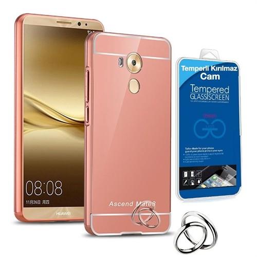 Teleplus Huawei Mate 8 Aynalı Metal Kapak Kılıf Rose Gold + Kırılmaz Cam