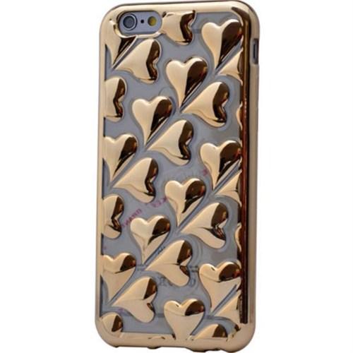 Teleplus İphone 6 Plus Kalp Görünümlü Silikon Kılıf Gold